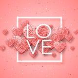 Gelukkige valentijnskaartendag en het wieden van ontwerpelementen Vector illustratie Roze Achtergrond met Ornamenten, Harten Krab Royalty-vrije Stock Afbeelding