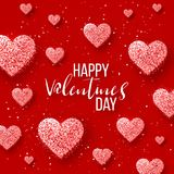 Gelukkige valentijnskaartendag en het wieden van ontwerpelementen Vector illustratie Roze Achtergrond met Ornamenten, Harten Krab Royalty-vrije Stock Fotografie