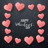 Gelukkige valentijnskaartendag en het wieden van ontwerpelementen Vector illustratie Roze Achtergrond met Ornamenten, Harten Krab Stock Fotografie