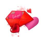 Gelukkige valentijnskaartendag Envelop met harten Romantische vakantieaffiche, groetkaart Voor de prentbriefkaaren van uitnodigin Royalty-vrije Stock Foto's