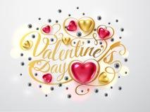 Gelukkige valentijnskaartendag Gouden doopvontsamenstelling met pijl, rode en gouden harten, zilveren parels op achtergrond Vecto stock illustratie