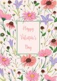 Gelukkige valentijnskaartendag Groetkaart met klokjes en kamillebloemen Rustieke romantische bloemenachtergrond stock illustratie