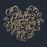 Gelukkige valentijnskaartendag Het gouden van letters voorzien Stock Fotografie