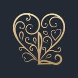 Gelukkige valentijnskaartendag Het gouden van letters voorzien Stock Afbeeldingen
