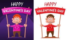 Gelukkige valentijnskaartendag Illustratie met de grappige caetoonmens Stock Afbeelding