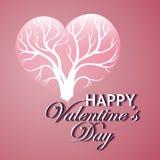Gelukkige valentijnskaartendag Kaart met boom van liefde Royalty-vrije Stock Foto