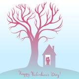 Gelukkige valentijnskaartendag Kaart met boom van liefde Stock Afbeelding