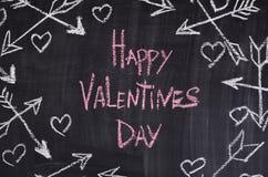 Gelukkige Valentijnskaartendag met harten, arrowes Krijt Royalty-vrije Stock Foto's
