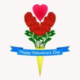 Gelukkige Valentijnskaartendag met rode rozen, roze hart Stock Afbeelding