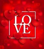 Gelukkige valentijnskaartendag op rode achtergrond met harten Stock Afbeeldingen
