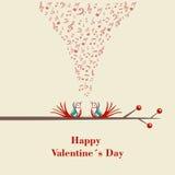 Gelukkige Valentijnskaartendag. Twee vogels die en op tak flirten zingen. Stock Foto's