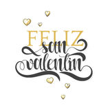 Gelukkige valentijnskaartendag Uitdrukkings Spaanse met de hand gemaakt Felizsan valentin stock illustratie