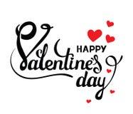 Gelukkige valentijnskaartendag Vectorkaart met met de hand geschreven kalligrafieteksten en rode harten op witte achtergrond Royalty-vrije Stock Afbeeldingen