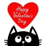 Gelukkige valentijnskaartendag Zwarte kat die omhoog aan groot rood hart kijken Leuk beeldverhaalkarakter Kawaiidier De groetkaar Stock Afbeeldingen