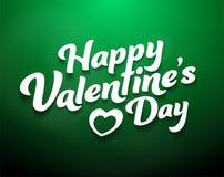 Gelukkige Valentine's-Dag op groene achtergrond stock illustratie