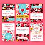 Gelukkige Valentine Day Flat Vector Invitation-Malplaatjereeks Royalty-vrije Stock Afbeeldingen