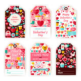 Gelukkige Valentine Day Vector Gift Tag-Malplaatje Vlakke Reeks Royalty-vrije Stock Foto's
