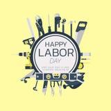 Gelukkige van de de groetkaart van de arbeidsdag het conceptenillustratie op geel Stock Afbeelding