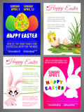 Gelukkige van de de illustratievlieger van Pasen vector de malplaatjesreeks van pasgeboren chiÑ  ken en konijn, kleurrijke eiere Stock Afbeelding