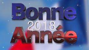 Gelukkige van de Nieuwjaar 2018 Franse Taal Lijn Als achtergrond vector illustratie