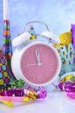 Gelukkige van de Nieuwjaarklok en Partij Decoratie Stock Fotografie