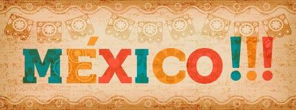Gelukkige van de de vakantietypografie van Mexico het citaatbanner Royalty-vrije Stock Afbeeldingen