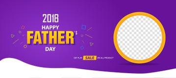 2018 Gelukkige van de de verkoopbanner van de Vader` s Dag de dekkingsaffiche Royalty-vrije Stock Afbeelding