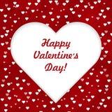 Gelukkige van letters voorziende de groetkaart van de Valentijnskaartendag met groot wit hart op rode liefdeachtergrond, vectoril vector illustratie