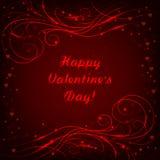 Gelukkige van letters voorziende de groetkaart van de Valentijnskaartendag met mooi glanzend patroon op rode achtergrond royalty-vrije illustratie