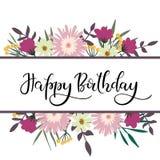 Gelukkige Van letters voorziende de Groetkaart van de Verjaardagshand met Bloemenkader Stock Foto