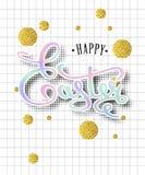 Gelukkige van letters voorziende de Groetkaart van Pasen Royalty-vrije Stock Foto