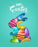 Gelukkige Van letters voorziende de kaart whith verfraaide eieren van Pasen door een silhouet van een konijn Royalty-vrije Stock Foto's