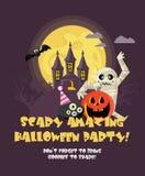 Gelukkige vector de partijaffiche van Halloween Laat wild en gek ` s worden vector illustratie