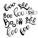 Gelukkige vector het ontwerpelementen van Halloween Boe-geroep vastgestelde het van letters voorzien illustraions Krabbelbrieven  Stock Afbeeldingen