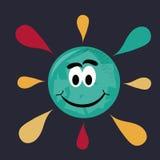 Gelukkige veelkleurige zon Stock Illustratie