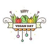 Gelukkige Veganistdag Vector illustratie Stock Afbeelding
