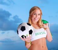 Gelukkige ventilator van Braziliaans voetbalteam stock fotografie