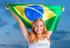 Gelukkige ventilator van Braziliaans voetbalteam Stock Foto