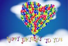 Gelukkige Verjaardag aan u bewolkte hemelachtergrond met de ballons van de Hartvorm royalty-vrije illustratie