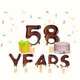 Gelukkige Verjaardag achtenvijftig 58 jaar vector illustratie