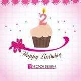 Gelukkige verjaardag cupcake Royalty-vrije Stock Afbeelding