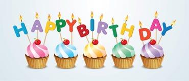 Gelukkige Verjaardag Cupcake Stock Afbeelding