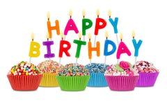 Gelukkige verjaardag cupcakes Royalty-vrije Stock Foto's