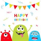 Gelukkige Verjaardag De reeks van het drie monstersilhouet Hoofdgezicht Driehoeksdocument vlaggen op kabel confetti Leuk beeldver vector illustratie