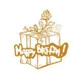 Gelukkige Verjaardag De vector gouden schetsillustratie van giftdoos met lint en nam toe Stock Foto's