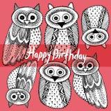 Gelukkige Verjaardag Decoratieve bla van Hand dravn Leuke Owl Sketch Doodle stock illustratie