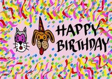 Gelukkige verjaardag door huisdieren Royalty-vrije Stock Foto's