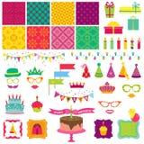 Gelukkige Verjaardag en Partijreeks Stock Foto's