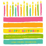Gelukkige Verjaardag en Partijuitnodigingskaart Royalty-vrije Stock Afbeeldingen