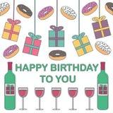 Gelukkige Verjaardag Giften, donuts en wijn op een witte achtergrond Royalty-vrije Stock Afbeeldingen
